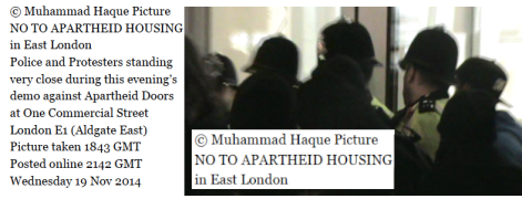 © Muhammad Haque Picture NO TO APARTHEID HOUSING in East London